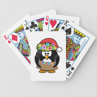 Hawaiian Christmas Penguin Bicycle Poker Deck