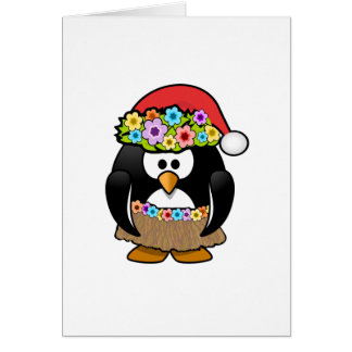 Hawaiian Christmas Penguin Greeting Card