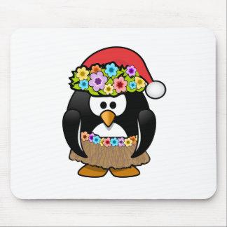 Hawaiian Christmas Penguin Mousepads