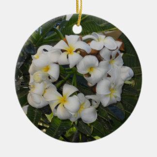 Hawaiian Christmas Plumeria Round Ceramic Decoration