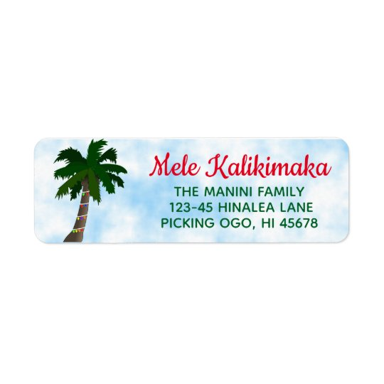 Hawaiian Christmas Return Address Labels Palm Tree
