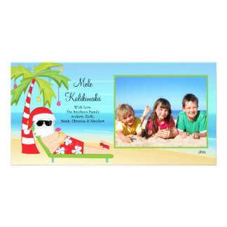 Hawaiian Christmas Santa Christmas Photo Card. Personalized Photo Card