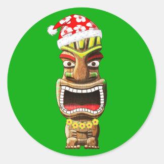 Hawaiian Christmas Santa Tiki Classic Round Sticker