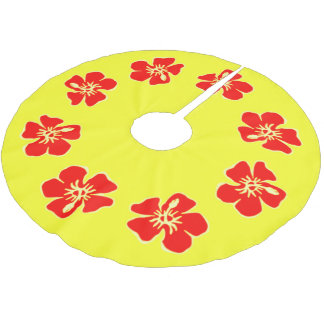 Hawaiian Christmas Tropical Hibiscus Red Yellow Brushed Polyester Tree Skirt