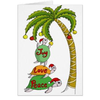 Hawaiian Christmas Turtle Santas Cards