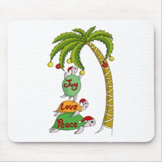 Hawaiian Christmas Turtle Santas Mouse Pad