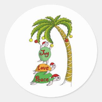Hawaiian Christmas Turtle Santas Round Sticker