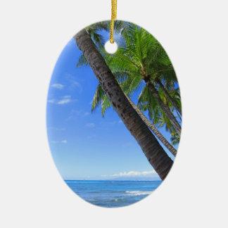 Hawaiian Coconut Palms Ceramic Oval Decoration