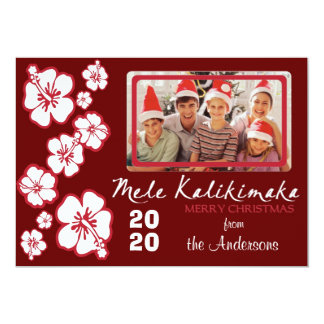 Hawaiian custom photo red hibiscus Christmas cards 13 Cm X 18 Cm Invitation Card