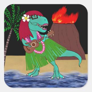 Hawaiian Dinosaur Ukulele Square Sticker
