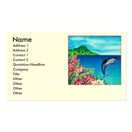Collections of hawaii business cards hawaiian dolphin business card templates reheart Gallery