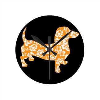Hawaiian Doxie Dachshund Round Clock