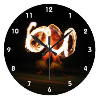 Hawaiian Fire Dance Large Clock