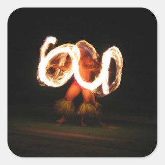 Hawaiian Fire Dance Square Stickers