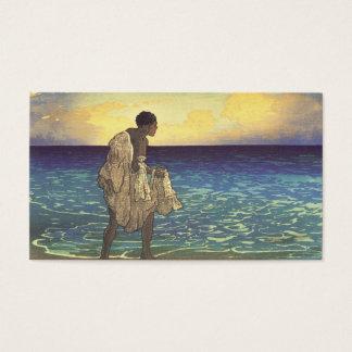 Hawaiian Fisherman, woodblock print Business Card