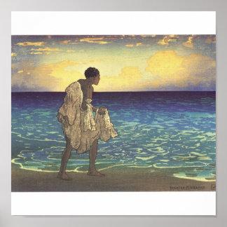 Hawaiian Fisherman, woodblock print