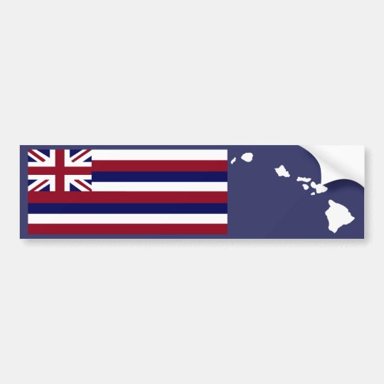 Hawaiian flag n islands bumper sticker