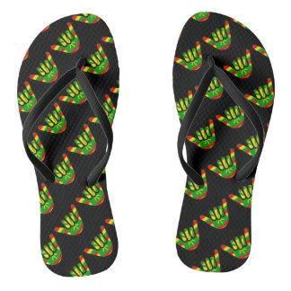 Hawaiian Flag Shaka Pattern Flip Flops
