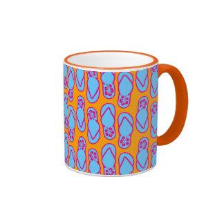 Hawaiian Flip Flops in Blue & Orange Ringer Mug