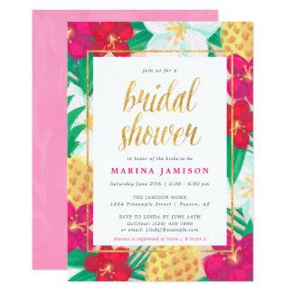 Hawaiian Floral Tropical Bridal Shower Invitations