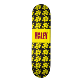Hawaiian Flower Theme with Nameplate Skateboard