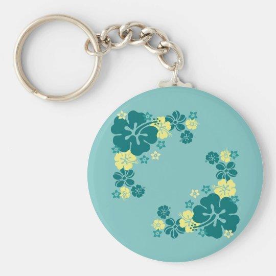 Hawaiian Flowers Basic Round Button Key Ring