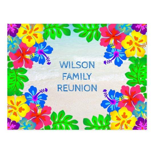 Hawaiian Flowers Border Family Reunion Postcard