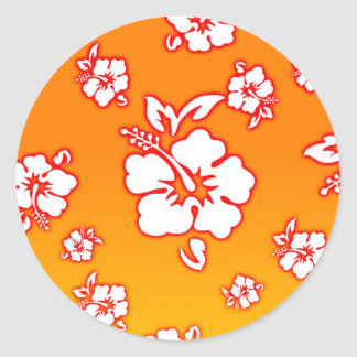 Hawaiian Flowers Classic Round Sticker