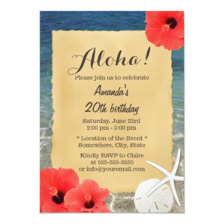 Hawaiian Flowers & Starfish Beach Theme Party 13 Cm X 18 Cm Invitation Card