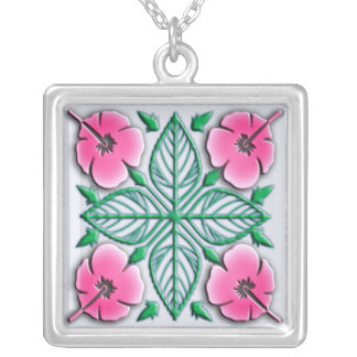 Hawaiian flowers tropical ornament square pendant necklace