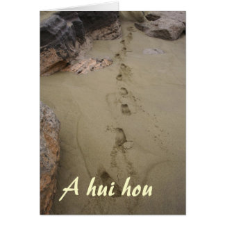 Hawaiian Footprints in Beach Sand Sympathy Note Card