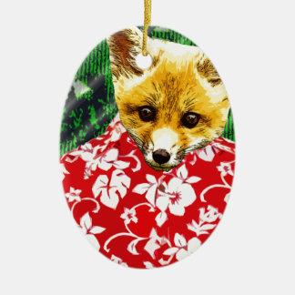 Hawaiian Fox Christmas Ornament