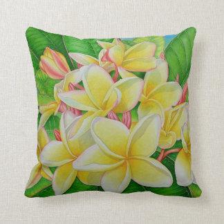 Hawaiian Frangipani Throw Pillow