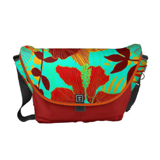 HAWAIIAN GETAWAY STYLE BOLD COLORS FLORAL COURIER BAG