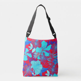 HAWAIIAN GETAWAY STYLE BOLD COLORS FLORAL PATTERN CROSSBODY BAG
