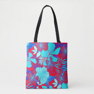 HAWAIIAN GETAWAY STYLE BOLD COLORS FLORAL PATTERN TOTE BAG