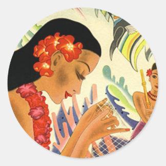 Hawaiian Girl Classic Round Sticker