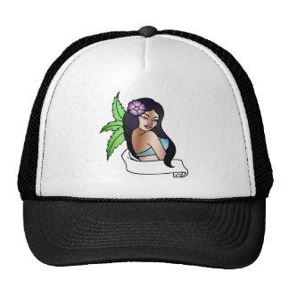 hawaiian girl tattoo cap