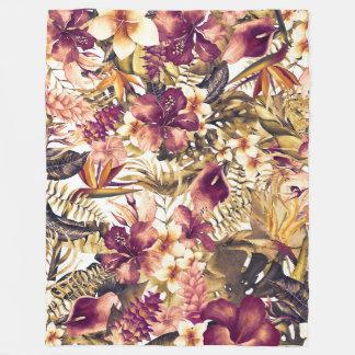 Hawaiian Golden Tropics Elegant Vintage Modern Fleece Blanket