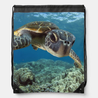 Hawaiian Green Sea Turtle Drawstring Bag