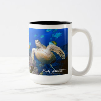 Hawaiian Green Sea Turtle, Honu Two-Tone Coffee Mug