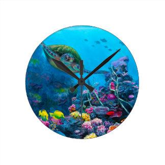 Hawaiian Green Sea Turtle Tropical Fish Reef Clocks