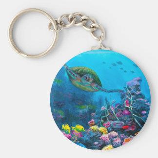 Hawaiian Green Sea Turtle Tropical Fish Reef Key Chain