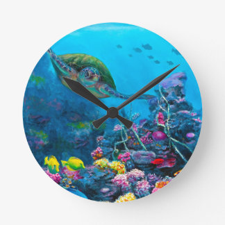 Hawaiian Green Sea Turtle Tropical Fish Reef Round Clock