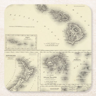 Hawaiian Group Or Sandwich Islands Square Paper Coaster