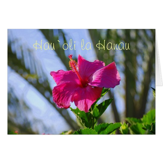 Hawaiian Happy Birthday Hot Pink Hibiscus Card