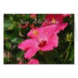 Hawaiian Happy Birthday Pink Striped Hibiscus