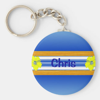 Hawaiian Hibiscus Blue Surfboard Key Ring