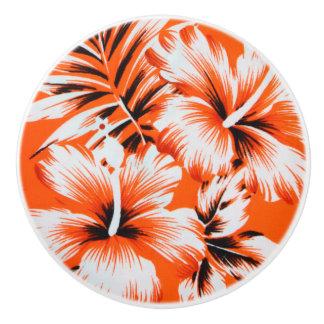 Hawaiian Hibiscus Flower Background Ceramic Knob