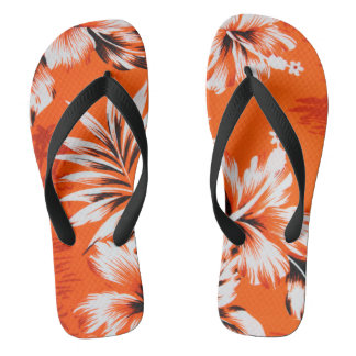 Hawaiian Hibiscus Flower Background Flip Flops
